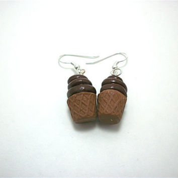 Chocolate Ice Cream Cones Polymer Clay by moonknightjewels on Etsy