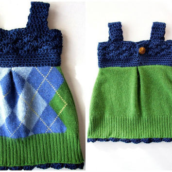 Upcycled Sweater Baby Dress Argyle with Crochet by KingSoleil