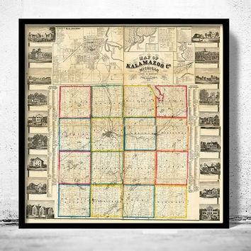 Old Map Of Kalamazoo Michigan 1861 United States Of America
