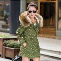 Fish Bone Printed Parka With Real Fur Collar YRB0584