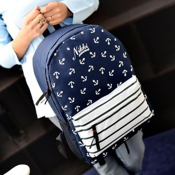 Navy Anchor Printed Canvas Backpack
