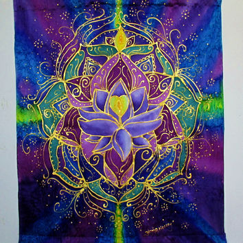 Lotus wall hanging, The Light Within, silk wall hanging, spiritual art,meditation art,lotus art, reiki art, goddess art, yoga art