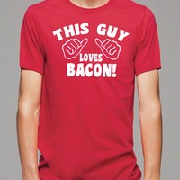Funny T shirt This Guy Loves BACON Mens T-shirt - Funny Shirts Cool Shirt T Shirt Boyfriend Gift Tee Shirt
