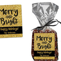 Merry and Bright Christmas Label Stickers - Christmas Bag Stickers - Personalized Christmas Gift Candy Bag Label - Gold Glitter Black