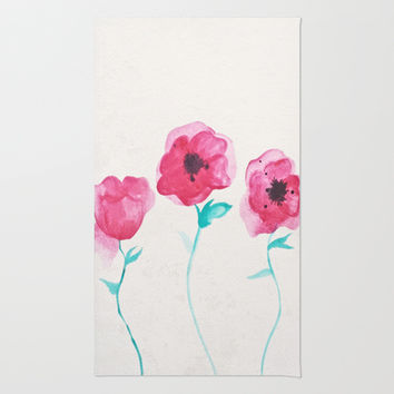 Asian Poppies Area & Throw Rug by DuckyB (Brandi)