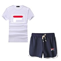 """Fila"" Print Short sleeve Top Shorts Pants Sweatpants"