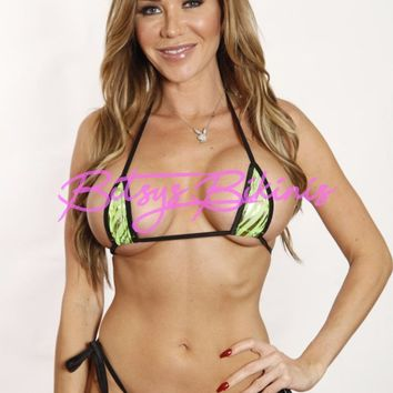 Bitsy's Bikinis Green Mesh Gold Animal Tie Side Thong Bikini Micro Extreme Swimwear Black String