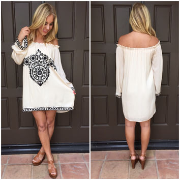 South of the Border Off Shoulder Rayon Dress