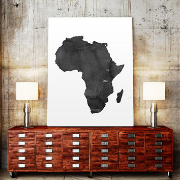 WATERCOLOR AFRICA MAP Africa Map Watercolor Painting Watercolor poster Handmade poster Continent poster World Map Africa Printable Wall Art