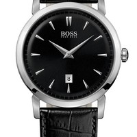 Men's BOSS HUGO BOSS Round Leather Strap Watch, 40mm