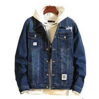 Pattern Embroidered Cowboy denim Jacket Male Korean Youth Loose Coat Rushed