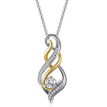 DCCKV2S Caperci Sterling Silver and Gold Plated Cubic Zirconia Diamond Accent 'MOM' Flame Twist Pendant Necklace for Women