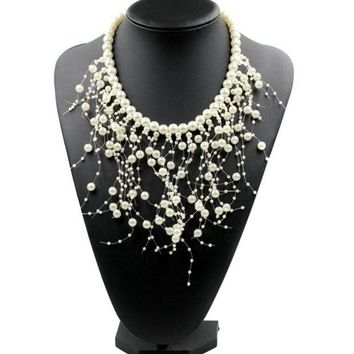 ONETOW Popular jewelry personalized multi - layer pearl tassel necklace accessories