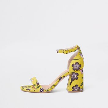 Yellow wide fit floral block heel sandals - Sandals - Shoes & Boots - women