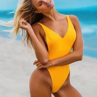 Solid V Neck High Neck One Piece Swimsuit
