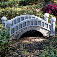 Decorative Outdoor 3-Ft Garden Bridge with Resin Stone Accents