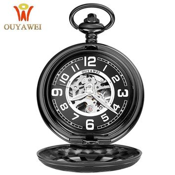 2017 Antique Skeleton Mechanical Pocket Watch gift Men Chain Necklace Fashion Casual Pocket & Fob Watches OUYAWEI Luxury watch