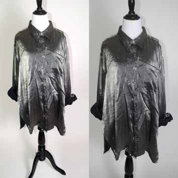 Vintage 1990s SILVER metallic oversize Oversized button down Plus Size XL Tunic shirt long sleeve blouse