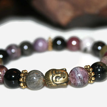 Purple Tourmaline Bracelet, Yoga Jewelry, Gemstone Jewelry, Beaded Bracelets, Buddha Bracelet, Meditation, Prayer Beads, Spiritual Gifts