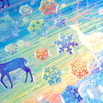 snowflakes sticker winter snowflakes frozen colorful snowflakes epoxy sticker mystery forest blue deer fairy tale scenery snow scene gift