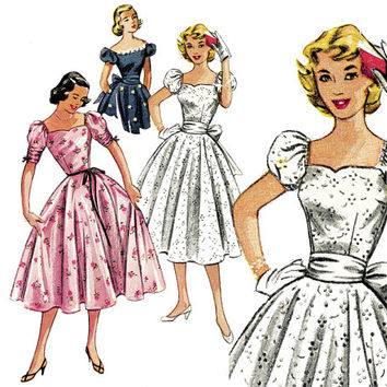 1950s Dress Pattern Bust 30 Simplicity 4186 Evening Full Circle Skirt Off Shoulder Puff Sleeve Dress and Sash Womens Vintage Sewing Patterns