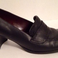 Etienne Aigner Shoes Womens Size 8.5 M Greeley Heels 8 1/2 Black Penny Loafer
