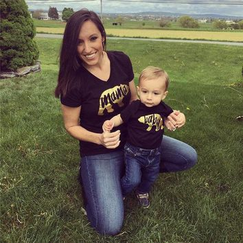 Mama Baby Bear Family Matching T Shirt  Bodysuits Gold Letter Clothes T Shirts Tops Outfits Sets Clothes