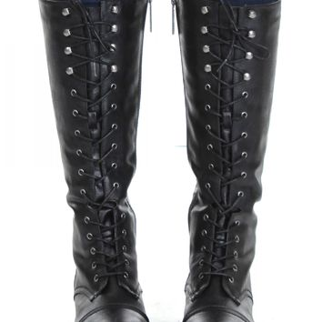 Lace Up Knee Boots Black