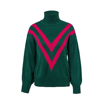 Ski Bunny Green Red Chevron Stripe Pattern Long Sleeve Turtleneck Pullover Sweater