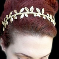 $36.00 Grecian Goddess Golden Leaf Crown Headband by RoseoftheMire