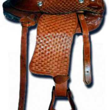 Hand Carved Brown Western Barrel Saddle