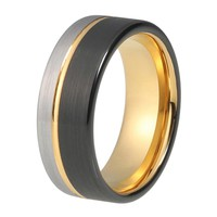 Mens Wedding Ring Yellow Gold Wedding Band 8mm Tungsten Carbide 18K Tungsten Ring Man Wedding Band Male Engagement Ring Anniversary Promise Brushed Silver Black Ring Offset Groove