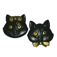 Vintage Black CATS CHALKWARE Wall Hangings Mr & Mrs, Miller Studio Boy Girl Kitty Plaques Halloween Decor Kitsch Kitties Wedding Shower Gift