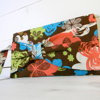 Bow Clutch Purse -  Scribble Flowers Fabric Brown Lime Teal - Coral Satin Lining - Make Up Bag
