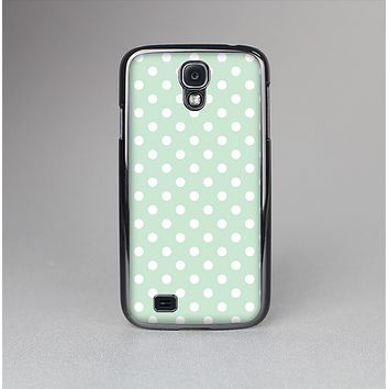 The Vintage Light Green Polka Dot With White Strip Skin-Sert Case for the Samsung Galaxy S4