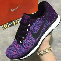 """NIKE"" Sports Knitted jumper wire AIR ZOOM PEGASUS shoes fashion shoes Purple"