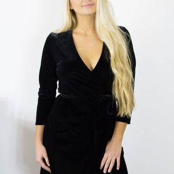 VeronicaM Black Velvet Wrap Dress