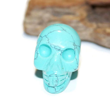Natural Turquoise Howlite Carved Skull, Gemstone Skull, Skull Bead, Large Hole, Healing, Wicca, Collectible, Carved Gemstone, Carved Skull