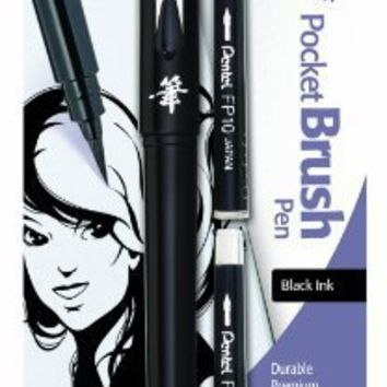 Pentel Arts Pocket Brush Pen with Refills, 1 Pen and 2 Refills (GFKP3BPA)