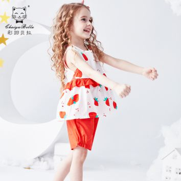 Colorful Feather Bella Children's Suit New Summer Kids Suit Red Leisure Love Sleeveless Girls Suit Baby