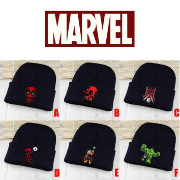 Marvel Avengers Deadpool Hulk Thor Black Skullies Beanie Knitted Cotton Hat Cap Cosplay Costume Unisex Fashion Gifts Cool