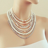 Bridal Necklace - Freshwater Pearl Wedding Necklace - Layered Pearl Rhinestone Necklace - Blush Pink - Statement Chunky Necklace