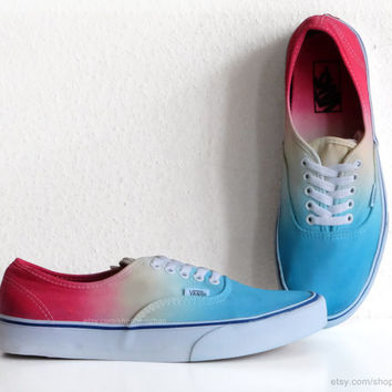 Turquoise, sky blue, yellow, red ombre dip dye Vans Authentic skate shoes, upcycled vintage sneakers, sunset gradient, rainbow, US Men 9