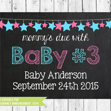 Pregnancy Announcement Chalkboard printable for a girl or boy // Baby # 3 // PDF you edit with ADOBE READER