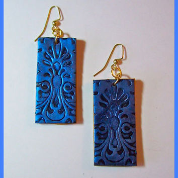 Sapphire Blue Brocade Earrings Polymer Clay 14 KT Gold Filled Earwires Handcrafted