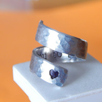 I Love You To The Moon And Back - Heart - Adjustable Aluminum Wrap Ring