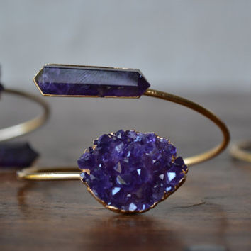Lux Divine Amethyst Point/Cluster Wrap Gemstone Bracelet /// Gold