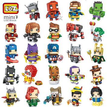 LOZ Marvel DC Hero Avengers Mini Robot DIY Nano Building Blocks Toy Captain America Iron Spider Man Joker Groot Raccoon no Box