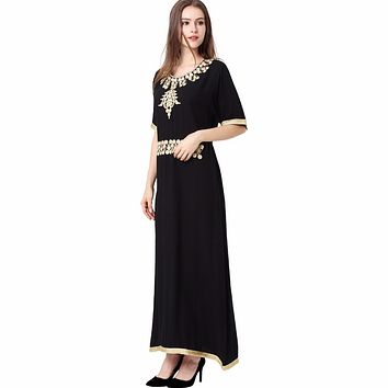 islamic clothing for women muslim Long sleeve Dress black abaya dubai moroccan Kaftan Caftan Islamic Abaya arabic robe 1624