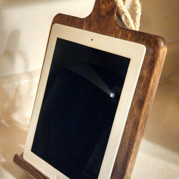 iPad stand Rustic wood iPad stand for the kitchen, cutting board style